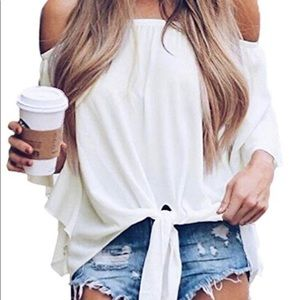 Tops - NWOT.  Beautiful White Off the Shoulder Top..